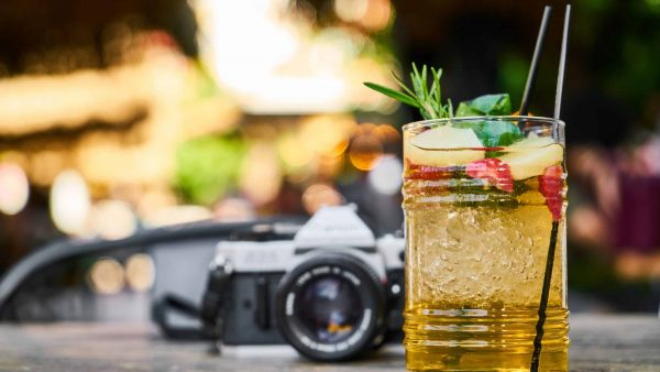 film camera and cool cocktail